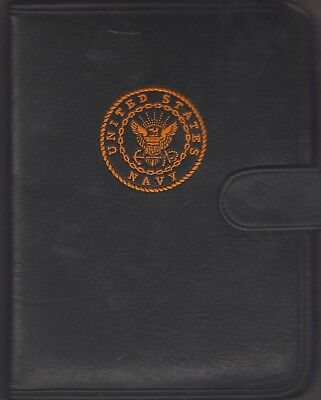 Us Navy Notebook 3-ring Black Leather Notebook Inside Pouch 9 14 X 7 Inches