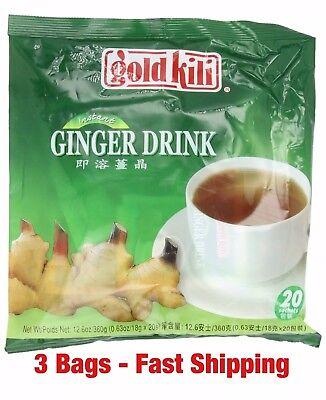 3 Bags - Gold Kili Natural Instant Ginger Tea Drink (60 sachets - Instant Ginger Drink