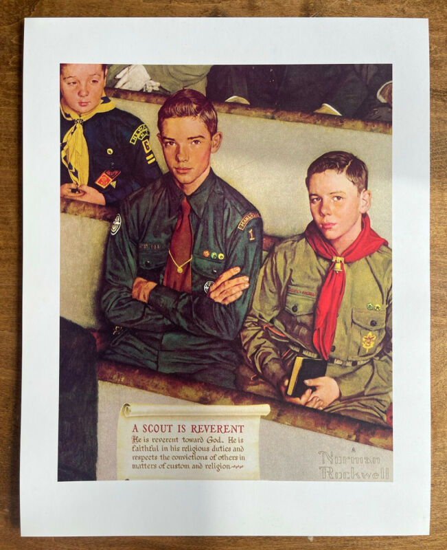 """Vintage 1960's Norman Rockwell A Scout Is Reverent Print 14""""x 11"""""""