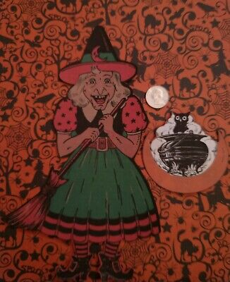 Vintage Halloween Reproduction Witch & Cauldron with Owl Decorations x2 Hanging