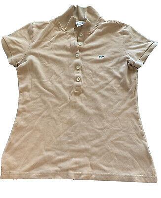 Lacoste Womens Polo Shirt Sz 38 Tan Short Sleeve
