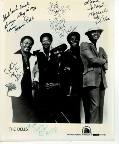 The Dells 5 Autographs Promotional Photo 1960s Stay in My Corner
