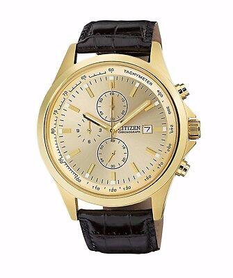 $62.99 - Citizen Men's AN3512-03P Quartz Gold Tone Chronograph Leather Strap 44mm Watch