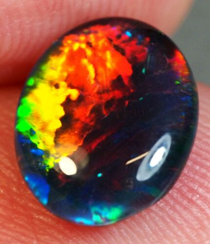 Super Gem A+++ Natural Australian Coober Pedy Opal Triplet 10x8 mm pendant ring