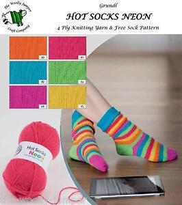 Socks Neon 50g 4 Ply Knitting Yarn Free Striped Sock Pattern | eBay