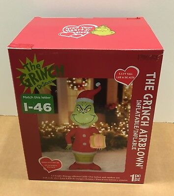 GEMMY GRINCH CHRISTMAS AIRBLOWN INFLATABLE BLOW UP LED YARD DECOR - Blow Up Christmas
