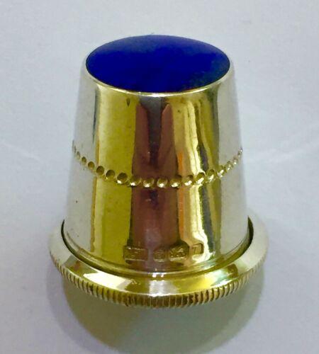 Unusual Vintage Sterling Silver Thimble Lapis Lazuli Gem Hallmarked Sheffield