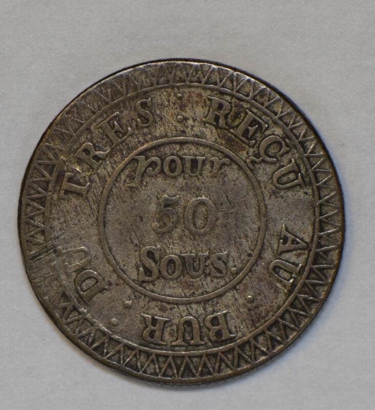 Mauritius 1822 50 Sous silver rare this grade M0241 combine shipping