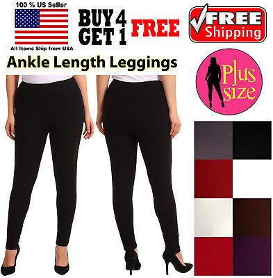 PLUS SIZE WOMEN SEAMLESS STRETCH SPANDEX YOGA PANTS OPAQUE ANKLE - Plus Size Spandex Leggings