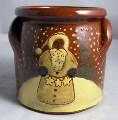 "2003 Eldreth Pottery HP Redware Handle Crock ""SANTA""   PA Folk Art  4 3/4"""