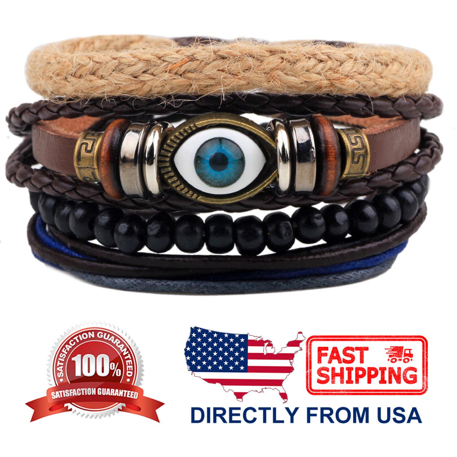 Evil Eye and Tribal Wood Beads Leather Men Women Wristband Bracelet 4pcs Set Bracelets