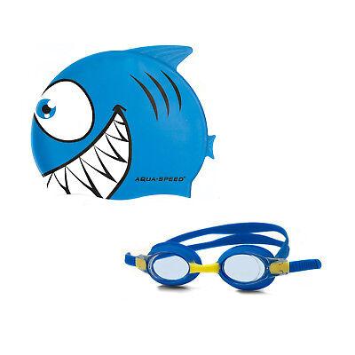 SET FISH Aqua Speed Schwimmbrille und Badekappe Kinder Bademütze Cap Fisch