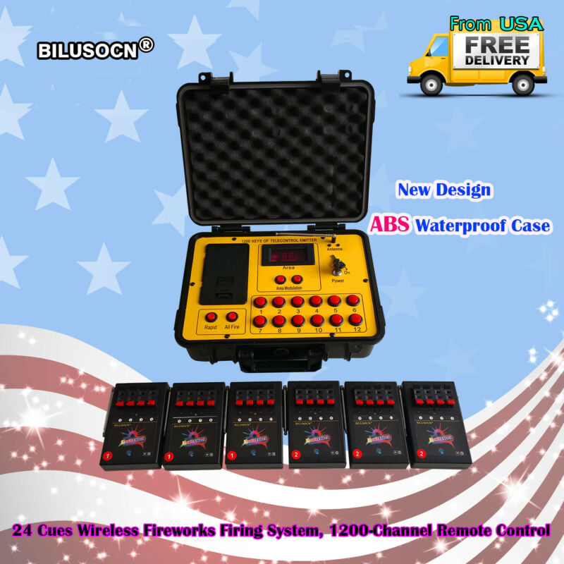 Bilusocn 300M distance+24 Cues Fireworks Firing System remote Control Equipment