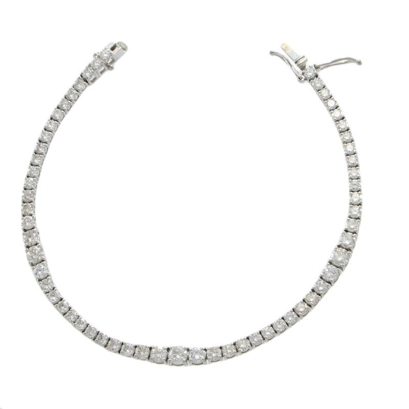 "5ctw Graduated Diamond Tennis Bracelet 14k White Gold 4 Prong 4mm Wide 7.25"""