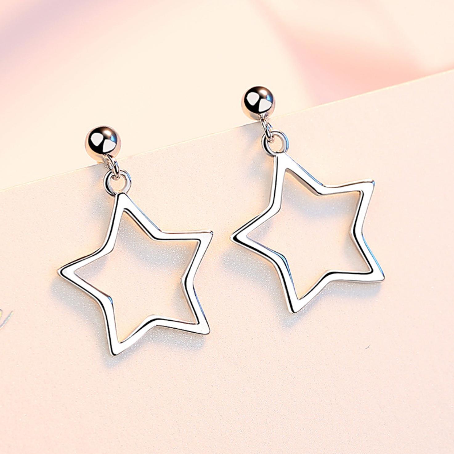 Jewellery - 925 Sterling Silver Star Bead Drop Stud Earrings Womens Girls Jewellery New Gift