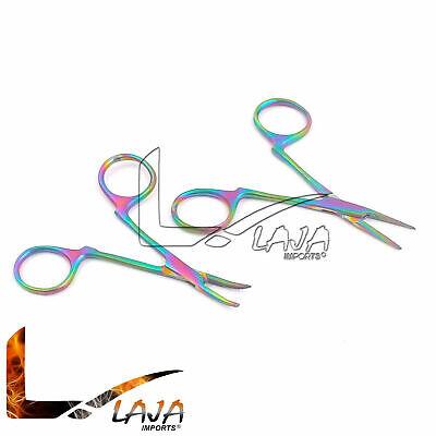 Set Of 2 Non-locking Hemostat Str Cvd 3.5 For Ear Care Rainbow Multi Color