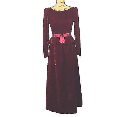 Mollie Parnis Boutique Dress Velvet Maxi Long Dark Red Ren Fest Bustle Pocket S