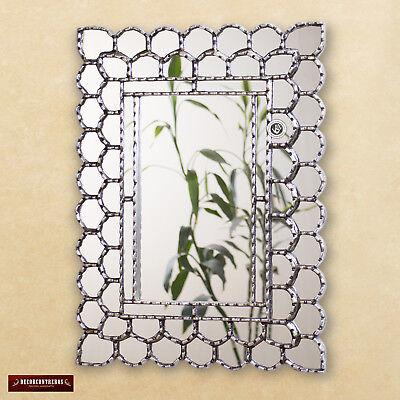 """Silver Rectangle wall Mirror decorative 23.6x17.7""""- Peruvian"""