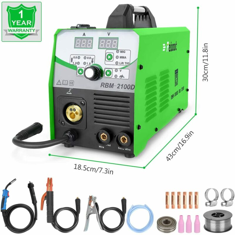 4 in 1 Flux Core /Solid Wire MIG Inverter Welding Machine MMA MIG 210 Stick Weld
