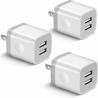 USB Wall Charger, BEST4ONE 3-Pack 2.1A/5V Dual Port USB Plug Power
