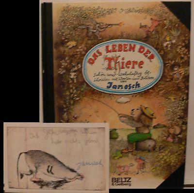 Janosch Leben der Tiere book Orig. signed signiert autograph Signatur Autogramm