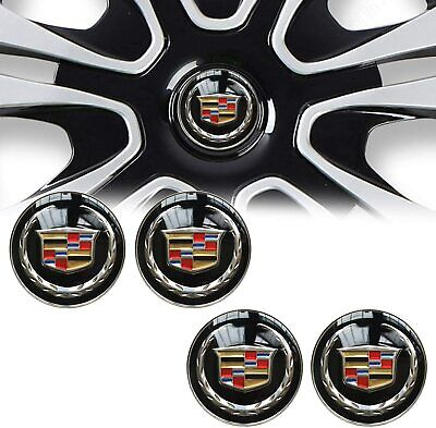 4x 65MM BLACK WHEEL CENTER CAP DECAL STICKER FOR CADILLAC STS CTS ATS SRX XT5
