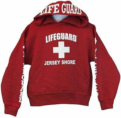 Lifeguard Kids Jersey Shore NJ Life Guard Sweatshirt Red Hoodie XS - (Jersey Shore Kids)