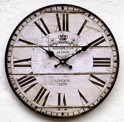 Wanduhr Küchenuhr antik Design modern Küche Vintage Uhr ohne kein Ticken lautlos (Uhr Vintage Wand)