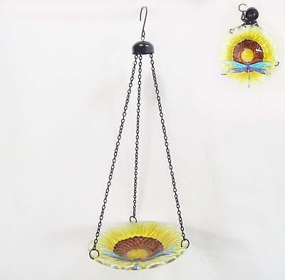 Bird Bath Hanging Glass Sunflower and Dragonfly Bird Bath-Feeder with Chains New