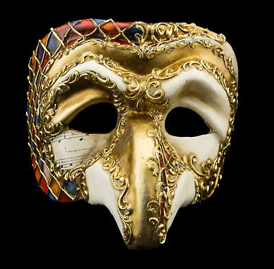 Mask from Venice Polichinelle Paper Mache Mosaic Golden Top Range 22346