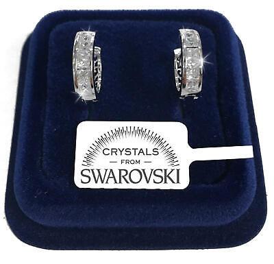 Cerchi 16mm Orecchini uomo donna pl.oro bianco 18K con cristalli swarovski SW42