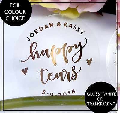 Happy Tears Personalised  Label Stickers Confetti Wedding Favour Rose Gold Foil  (Happy Tears)