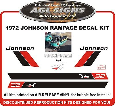 1972  JOHNSON RAMPAGE 32 Skee Horse Reproduction Decals