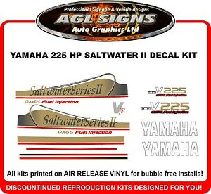 YAMAHA 225 OX66 V6 Saltwater Series II Outboard Decals Reproductions 150 200 hp