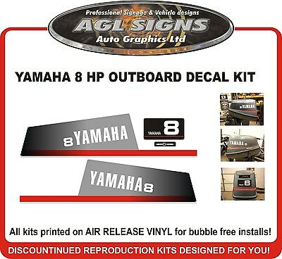 YAMAHA 8 HP Outboard Motor Decal Kit , reproductions