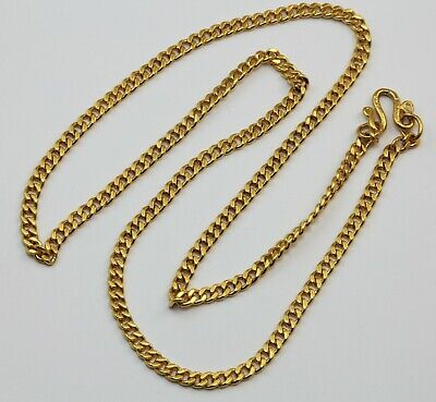 24K Solid Yellow Gold Cuban Link Chain Necklace 21.6 Grams