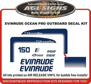 1998 EVINRUDE 150 HP Ocean Pro Reproduction Decal Set , also 175 hp Fitch