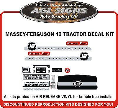 Massey Ferguson 12 Garden Tractor Replacement Decal Set Mf 12 Electric Start