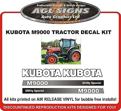 Kubota M9000 Tractor Decal Set Reproductions