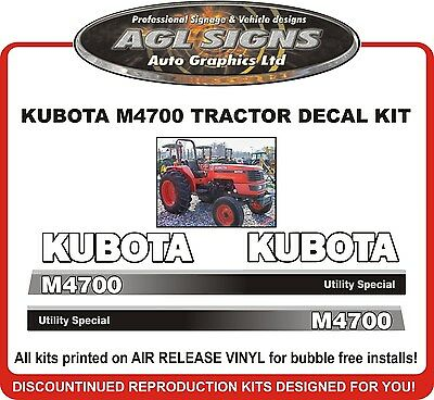 Kubota M4700 Tractor Decal Set Reproductions