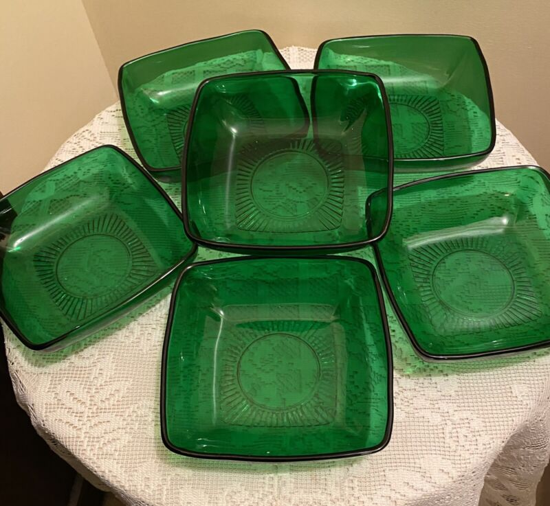 """LOT OF 6 ANCHOR HOCKING FOREST GREEN CHARM 6"""" SOUP BOWLS"""