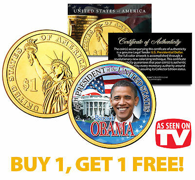 BARACK OBAMA Presidential $1 Dollar Coin Gold Plated *AS SEEN ON TV* BUY 1 GET 1 for sale  Shipping to Canada