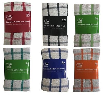 Pack of 5 Terry 100% Cotton Tea Towels Set Kitchen Dish Cloths Cleaning