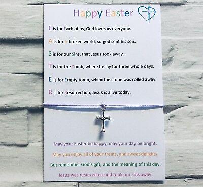 Meaning Of Easter Gift, Alternative, Religious, Jesus, Cross, Wish Bracelet #WB
