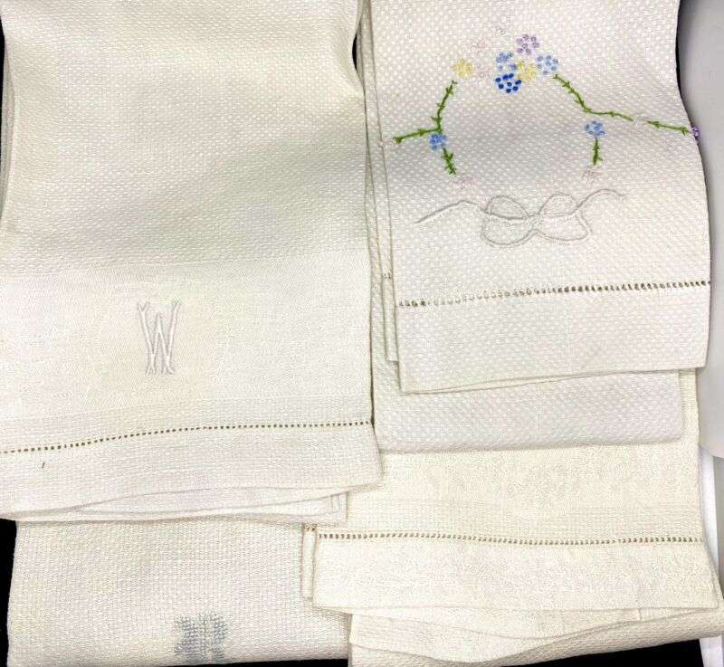 Vintage Linen Hand Towels Embroidered and Monogram R & W and Plain