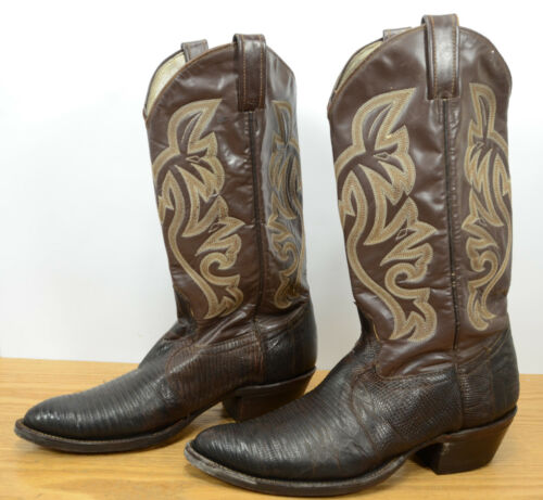 Vtg, Mens, Sz, 10, D, Lizard, Skin, Brown, Leather, Western, Cowboy, Rodeo, Ranch, Boots