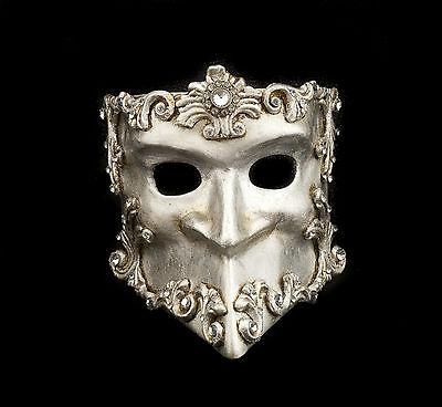 Mask from Venice Bauta Barocco Silver Authentic Venetian Paper Mache 274 V41