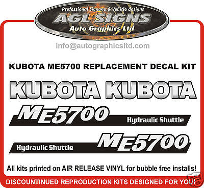 Kubota Me5700 Tractor Decal Set Reproductions Me 5700