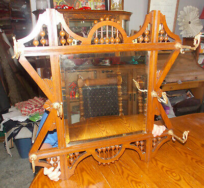 Quartersawn Oak Stick & Ball Hall Tree Mirror with Hooks   Hall Mirror Hooks