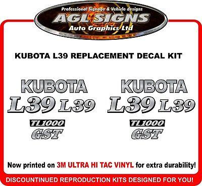 Kubota L39 Backhoe Decal Set Reproduction L 39 Tl1000
